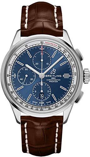 Breitling Premier A13315351C1P1 - Reloj cronógrafo 42 con esfera azul sobre correa marrón