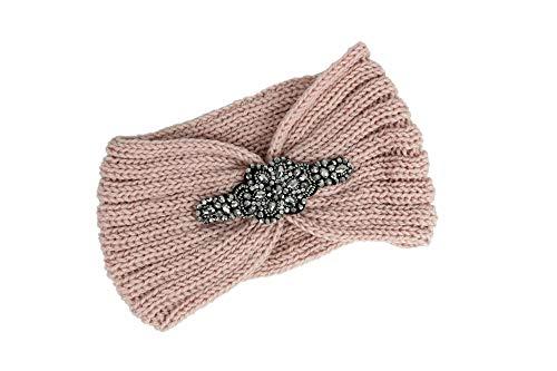 irisaa Damen Stirnband mit Strass gestrickt Kopfband Haarband Ohrenwärmer, stirnband farbe:Pink