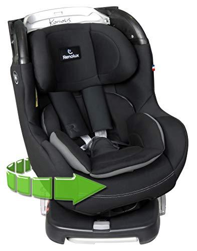 Renolux Koriolis Total Black, Drehbar Kindersitz Gruppe 0+/1 (0-18kg), von Geburt bis 4 Jahre