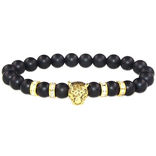 mikini Mens Womens curación piedras preciosas perlas elástico Pulsera, aleación leopardo cabeza Encanto, Matte Black Onyx /Gold