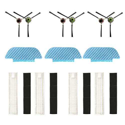 Alecony 3 Mopp + 6 Seitenbürste + 4 Hepa Filter Kompatibel mit Ecovac-s OZMO Slim 10 11 Sweeping Robot Vacuum Cleaner,10 Teilig Mop Seitenbürste Filtersiebe Staubsauger Zubehör Saugroboter Ersatzteile