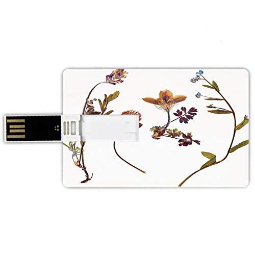 64GB Chiavette USB a forma di carta di credito Decorazioni floreali Memory Card stile carta di credito Libro Fiori secchi secchi Lillà Margherite Tulipani Foglie Germogli da giardino Stampa artistica,