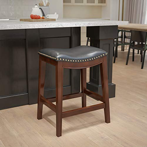 Flash Furniture 26'' High Backless Cappuccino Wood Counter Height Black Leather Saddle Seat 26' No Back Stool, One Size