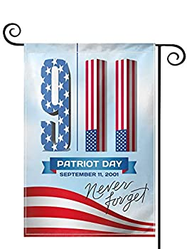 PRUNUS Retro Patriotic American 911 Decorative Welcome Garden Flag Vertical Double Sided Sleeved Double Stitched Fade Resistant Premium Quality Fabric Flag Yard Outdoor Decoration 28  x 40