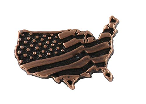 Kupfer ~ USA Kontinent mit Flagge klein ~ Kühlschrank Magnet ~ ac172m