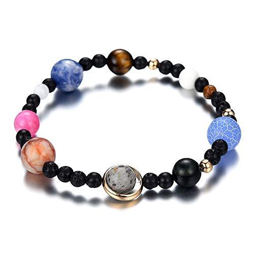 JESMING Women Solar System Bracelet Stretch Bracelets Universe Galaxy The Eight Planets Guardian Star Natural Stone Beads Bracelet Bangle Gifts for Girls (A (Stretch))