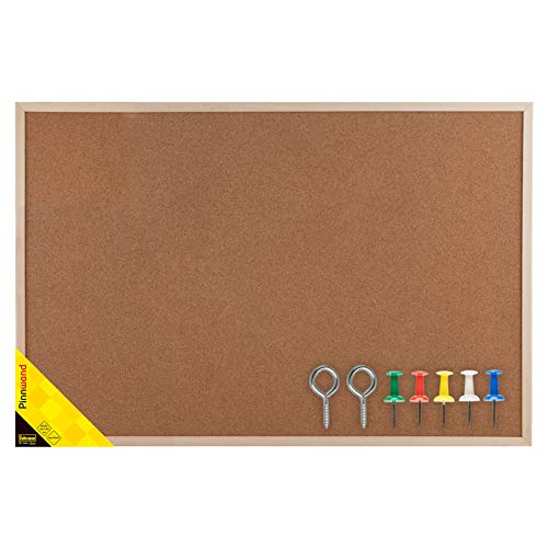 Idena 568023 - Pinnwand mit Holzrahmen, aus Kork, inklusive 5 Pinnwandnadeln und 2 Schrauben, zur Wandmontage geeignet, ca. 60 x 90 cm, ideal als Dekoration und für den Arbeitsplatz