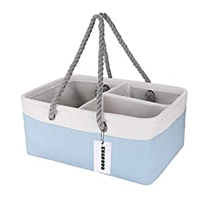 """Large premium essential storage caddy organizer for newborn products: Our diaper storage basket size is16""""X11""""X7"""", Large enough to store baby stuffs. Our caddy organizer Made of high quality and tested safe material. We use12 ounces cotton fabric/ Ec..."""