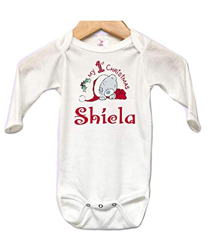 Babys first Christmas Santa Grey Bear Personalized Infant Baby Body suit Onesie