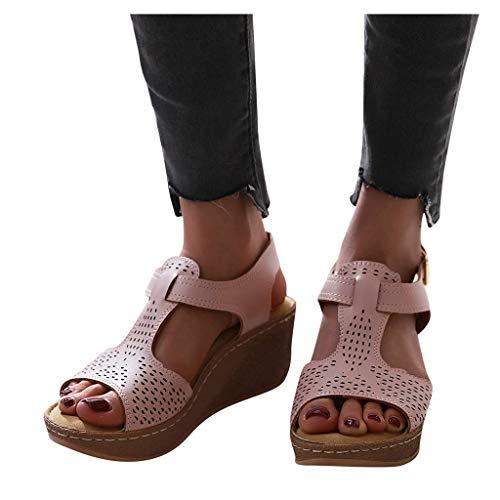 JoCome Pantoffeln Damen Sandalen Slippers Schuhe Bequeme Orthopädische Pantolette Hausschuhe Damen Pantoletten Keilabsatz Schuhe Elegant Sandaletten Casual Slingback Sommerschuhe