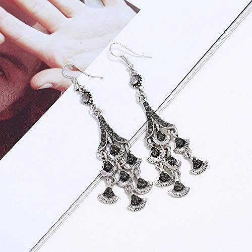 European and American fashion jewelrylong fan-shaped diamond-studded tassel earrings earrings women