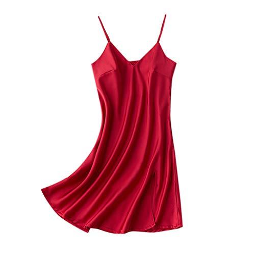 Feytuo Nachtwäsche Damen Sexy Satin V-Ausschnitt Große Größen Nachtkleid Spitze Für Sex Pyjama OuvertSchlafanzüge Transparent