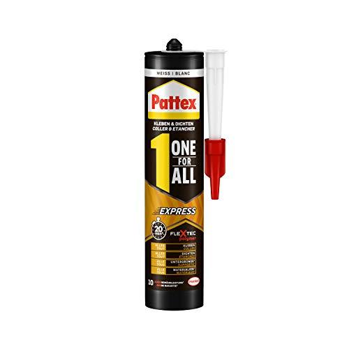 Pattex One For All Express, schnellhärtender Montagekleber & Dichtmasse für flexible und starke Verklebungen, wasserbeständiger starker Kleber, 1 x 390g Kartusche
