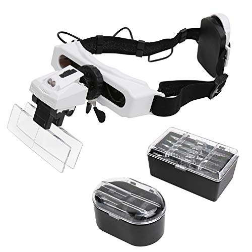AZFUNN Flexible Headband Magnifier with LED Light, Multi Purpose Binoculus Lens 1X to 6X Monocular Lens 5X to 28X Head Mounted Magnifying Glass for Reading Jewelry Close Work Repair