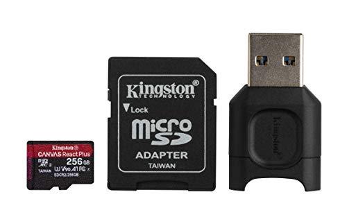Kingston MLPMR2/256GB Schede microSD, 256GB microSDXC React Plus SDCR2, Con Adattatore SD e MLPM Lettori Media