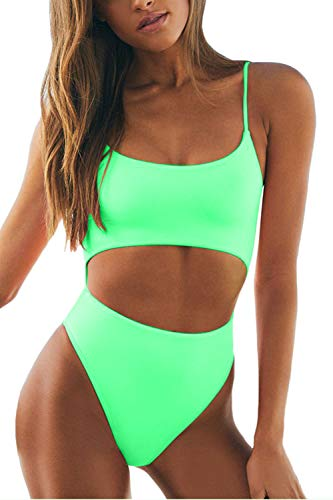 Meyeeka Womens Scoop Neck Cut Out Front Lace Up Back High Cut Monokini One Piece Swimsuit (S, Green1)