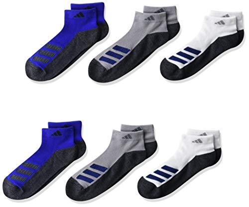 adidas - Calcetines de corte bajo acolchados para niños (6 pares), color blanco/negro Onix Marl/Team Royal Blue/Light Onix/B, L