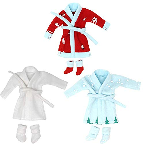 JOYIN 3 Packs Santa Couture for Elf Doll Bathrobes, Christmas Decorations, and Holiday Specials(Doll is Not Included)