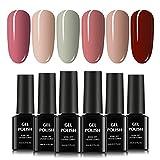TOMICCA Vernis à Ongles Gel Semi Permanent 6 Couleurs X 8ml UV LED Gel Soak Off Manucure Cadeau Rose Nude Set