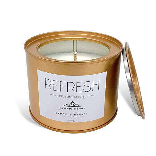 BIG LOST GOODS Refresh Candle | Lemon & Ginger Scented | 10 Oz Tin Made with 100% Soy Wax and Natural Essential Oils || Use for: Energy, Rejuvenation, Positivity, and Revitalization