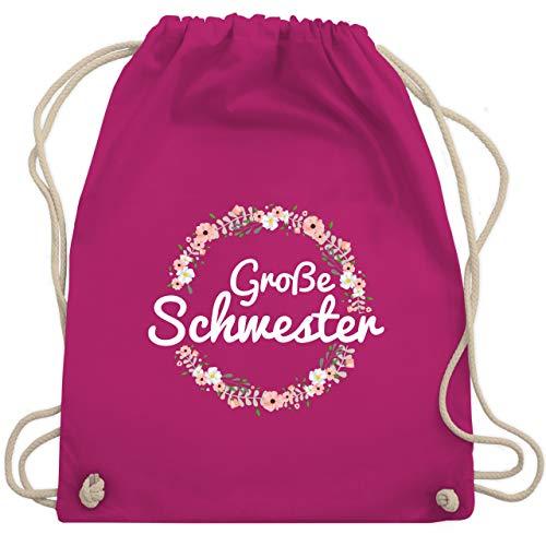 Geschwisterliebe Kind - Große Schwester Blumenkranz - Unisize - Fuchsia - tanten tshirt - WM110 - Turnbeutel und Stoffbeutel aus Baumwolle