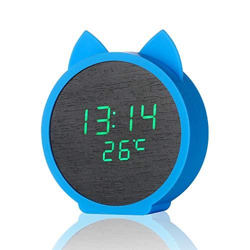 USB-oplader met led-display, wekker, nachtkastje, kat, elektronische klok, zwart display met temperatuurdatum, geschikt voor jongens, meisjes kinderen en studenten, 12/24 uur Blauw