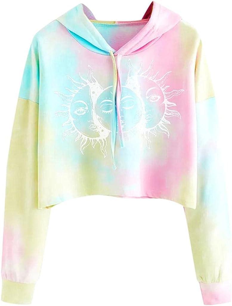 Women Crop Top Cute Sweatshirts Teen Girls Fashion Hoodie Tie Dye Crop Top Sweatshirt Long Sleeve Sun Pullover Hoodies