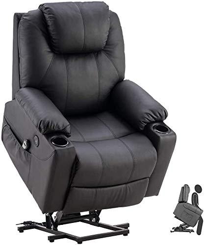 Elektrischer Fernsehsessel, Relaxsessel Verstellbar mit Aufstehhilfe Fernbedienung Massagesessel Heizung mit Getränkehalter USB PU TV Sessel Schwarz