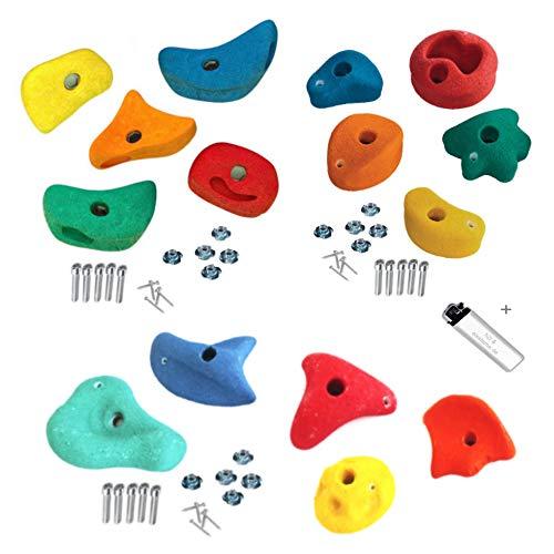 15 Stück h2i Klettersteine Klettergriffe für Kletterwand - mix - 5 x 8,6 x 8,6 cm + 5 x 11,0 x 11,0 cm + 5 x 14,3 x 14,3 cm für Kinder und Erwachsene
