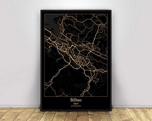 Impresión De Lienzo, Bilbao España Mapas De Luz De La Ciudad Negros Y Dorados Personalizados Mapa De La Ciudad Del Mundo Carteles Impresiones En Lienzo Estilo Nórdico Arte De Pared Decora,60X90Cm