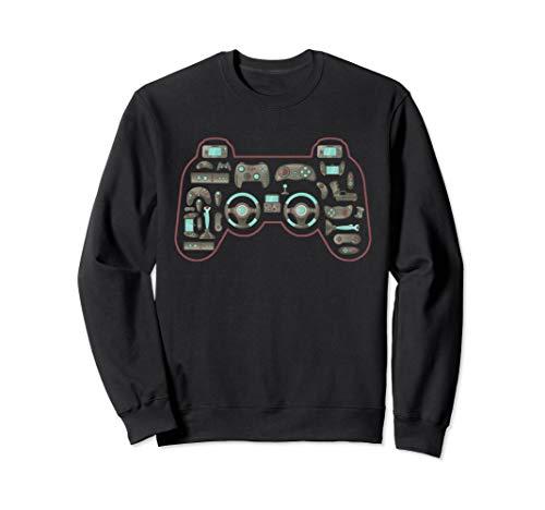 Vintage Gaming Controller Shape Gamepad Video Gaming Icons Sweatshirt