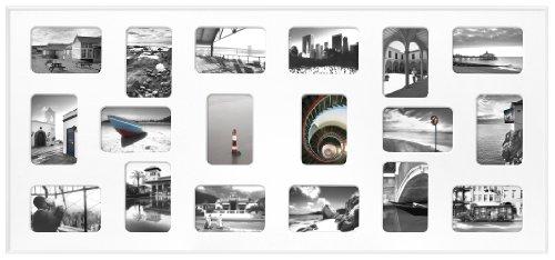 Nielsen Pixel 18 weiss 49,5x109,2cm inkl. Passepartout, 18 Fotos Bilderrahmen Collagerahmen