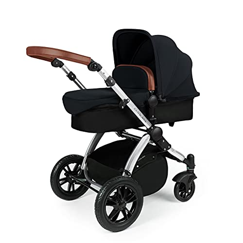 Ickle Bubba Stomp V3, All-in-one Travel System: Includes carrycot, Reversible Pushchair, Galaxy Group 0+ car seat with Isofix Base (Black with Tan Handles, Silver Chassis)