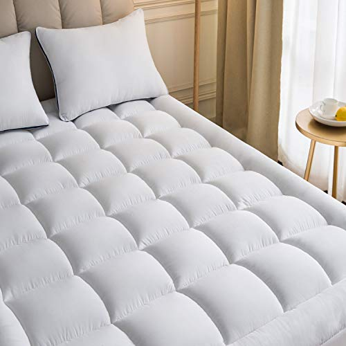 Mattress Topper King 78x80Inches Quilted Plush Down Alternative Pillow Top Fitted Skirt Protector Mattress Pad Reviver Enhancer Deep Pocket Fits 20 Inches Soft White Bed (Microfiber, King 78x80Inches)