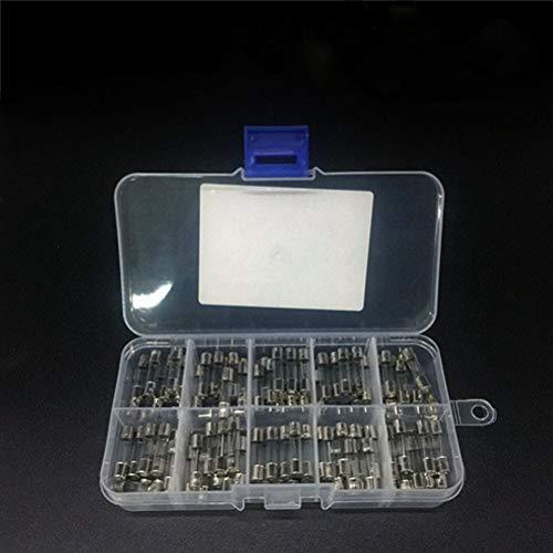 Markcur 100 Stück Sicherung 0,5A-20A 5x20mm Feinsicherung Glasrohrsicherung Sortiment Glassicherung
