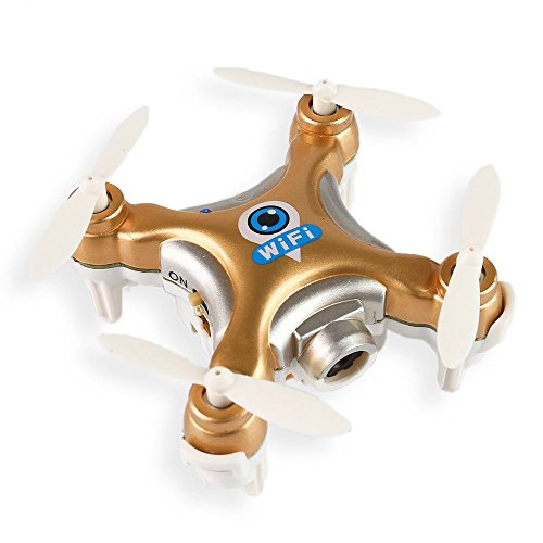 LeaningTech x Cheerson CX-10W 2.4GHz 4CH 6-Axis APP Wifi Remote Control Mini Nano RC Quadcopter Drone with WiFi FPV 0.3MP HD Camera Live Video And Colorful LED Lights (Gold)