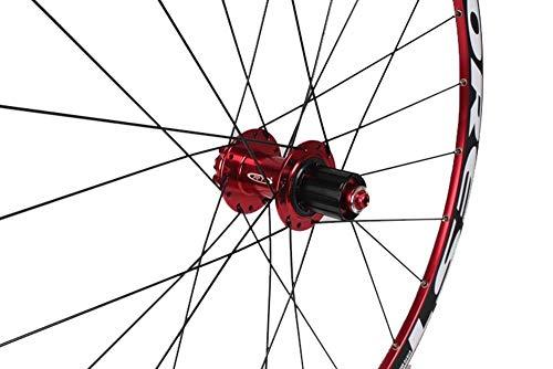 QHY Ruedas MTB Juego Ruedas Bicicleta para 26 27.5 In Llanta Aleación Doble Capa Rodamiento Sellado 11 Velocidades Cassette Hub Freno Disco Liberación Rápida 24 Agujeros 1850g