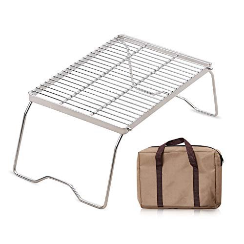 RedSwing Folding Campfire Grill, Heavy Duty 304 Stainless Steel Grate, Portable Camping Grill with Legs and Carrying Bag, Large