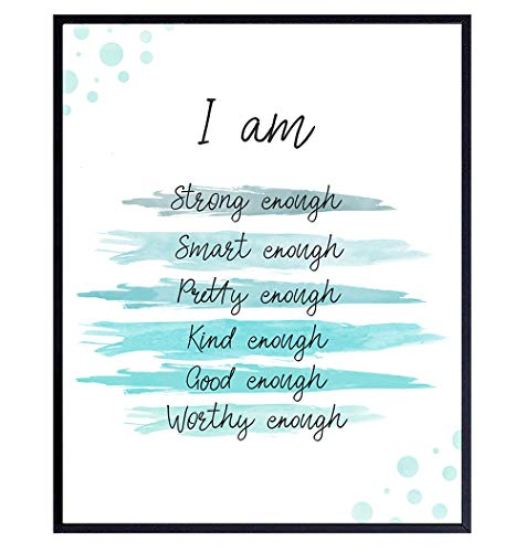 Positive Quotes Wall Decor - Positive Affirmations - Encouragement Gifts for Women, Teens, Girls - Inspirational Quotes - Motivational Wall Art - Inspiring Uplifting Sayings Wall Decor - Tiffany Blue