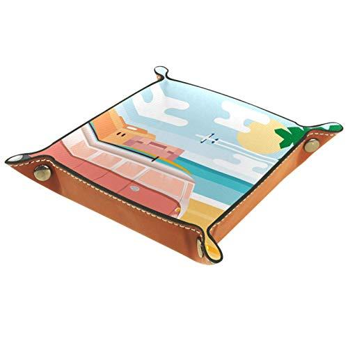 LynnsGraceland Bandeja de Cuero - Organizador - Dibujos Animados Vans Playa Palmeras - Práctica Caja de Almacenamiento para Carteras,Relojes,Llaves,Monedas,Teléfonos Celulares y Equipos de Oficina