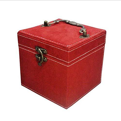 KUANDARGG Dreischichtige kreative Aufbewahrungs-Geschenkbox Mode-Flanell-Schmuckschatulle, Red