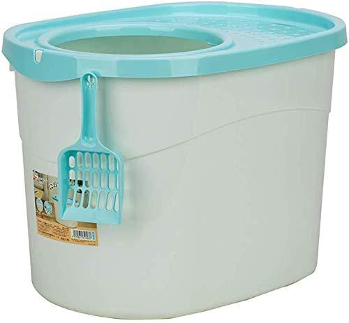 Ccgdgft Huisdier vuilnisbak, vuilnisbak voor kat toilet, makkelijk schoon te maken kat benodigdheden, kat herbruikbare deodorant toilet, Blauw
