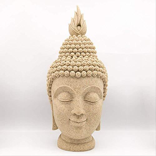 THj Figuras Decorativas de Piedra Arenisca, artesanía de Resina, Adornos de Cabeza de Buda, Regalos Decorativos creativos de Piedra Arenisca Hechos a Mano para el hogar