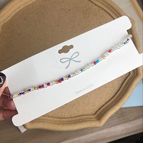 ASDFG Collar Gargantilla Corto con Cuentas, Collar de hebra con Cuentas de Semillas Simples, gargantillas de Cuerda para Mujer, Collar de Regalo