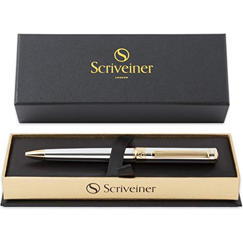 Luxury Pen by Scriveiner London  Stunning Silver Chrome Ballpoint Pen with 24K Gold Finish Schmidt Black Refill Best Ball Pen Gift Set for Men amp Women Professional Executive Office Nice Pens
