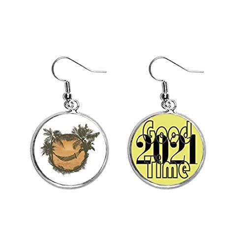 Boucles d oreilles pendantes en forme de cocotier avec nuage et hamac