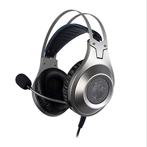 ZHD&CC PS4 - Auriculares de diadema con micrófono para videojuegos de PC, Nintendo Switch, New Xbox One, color plateado