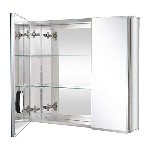 Fundin Bathroom Mirror Medicine Cabinet Aluminum Storage Cabinet 30 x 26 inch Beveled Edge Frameless Double Sided Mirror Door Recess or Surface Mount with 5X Magnifying Makeup Mirror