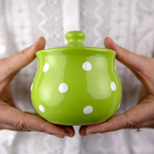 Handmade Lime Green and White Polka Dot Ceramic Sugar Bowl, Pot With Lid | Pottery Honey Jar, Jam Jar | Housewarming Gift by City to Cottage