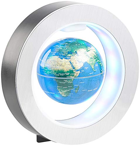 infactory Schwebender Globus: Freischwebender 10-cm-Globus in Magnet-Ring mit bunter LED-Beleuchtung (Schwebende Erdkugel)